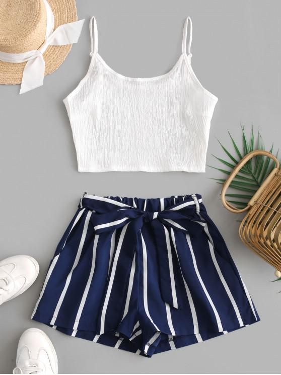 trendy Crop Cami Top and Striped Belted Shorts Set - DEEP BLUE M