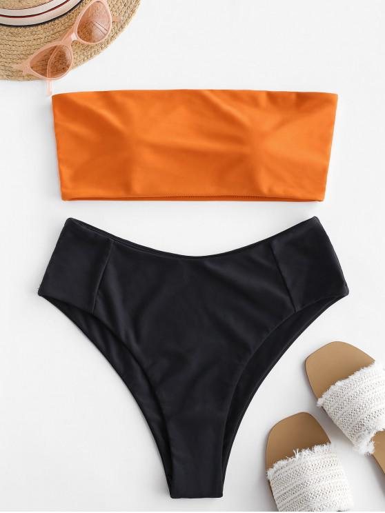outfit High Cut Two Tone Bandeau Bikini Set - ORANGE S