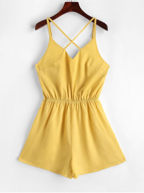 ladies Elastic Waist Criss Cross Cami Romper - YELLOW S