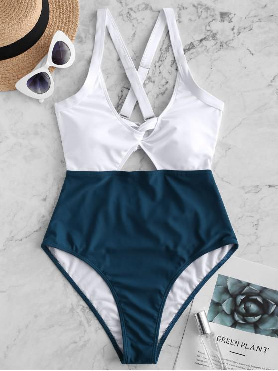 womens ZAFUL Color Blocking Criss Cross Cut Out Swimsuit - PEACOCK BLUE XL