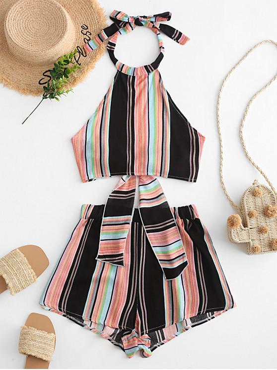 unique Tied Back Cropped Stripes Top And Shorts Set - MULTI-B XL