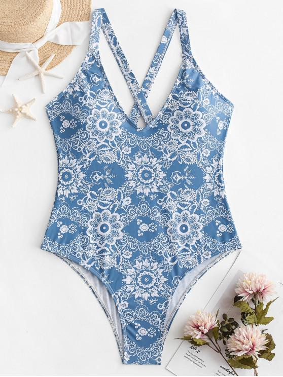 affordable ZAFUL Floral Criss Cross Backless Swimsuit - DENIM BLUE M
