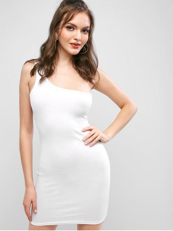 women One Shoulder Bodycon Solid Dress - WHITE M