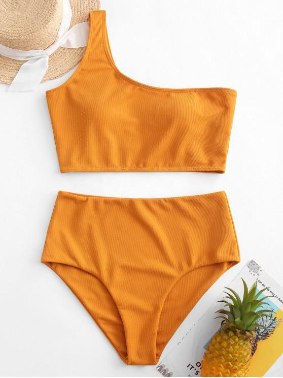 latest ZAFUL Textured One Shoulder Tankini Swimsuit - ORANGE GOLD M