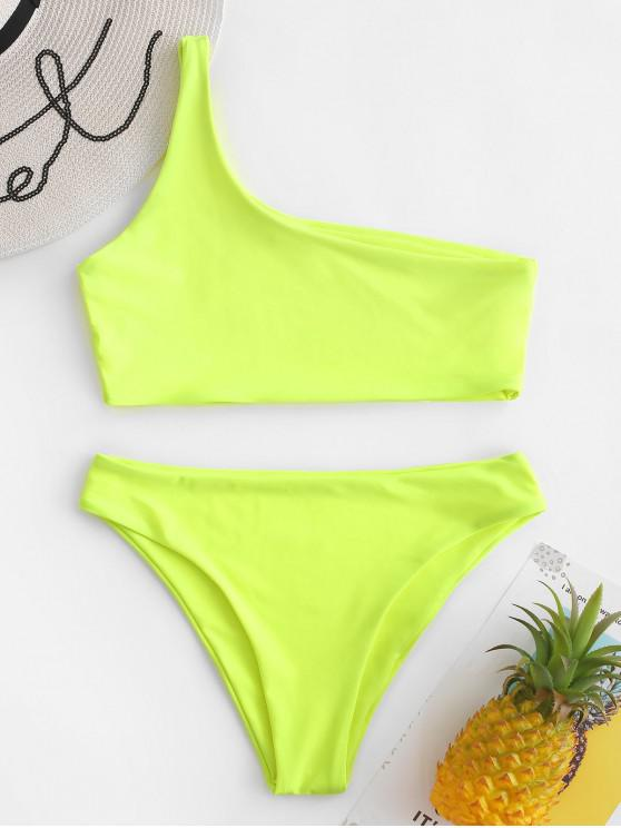 trendy One Shoulder Bikini Set - TEA GREEN L