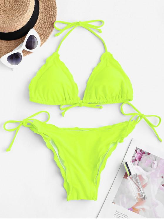 fashion ZAFUL Lettuce Trim Padded String Bikini Swimsuit - GREEN YELLOW S