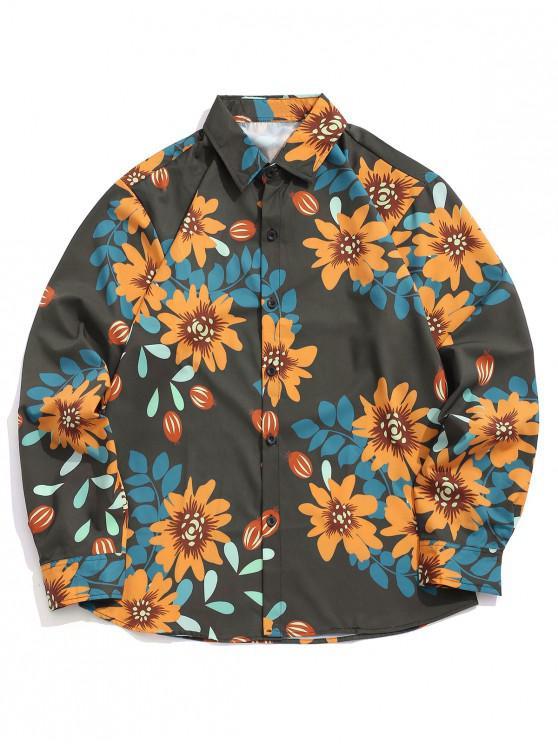 Camicia a bottoni casual stampa allover stampa floreale - Multi Colori L
