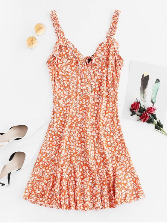 ZAFUL Backless vestido con volantes de flores de corte bajo - Naranja de Calabaza  L