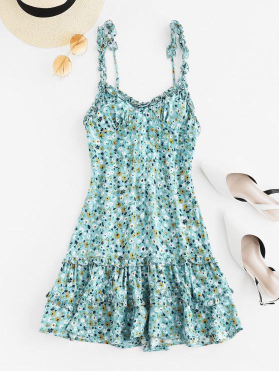 new Tied Back Floral Ruffles Mini Dress - CYAN OPAQUE M