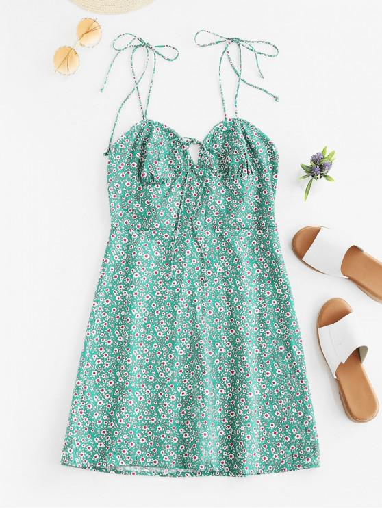 unique Tied Collar Floral Mini Cami Dress - GREEN M
