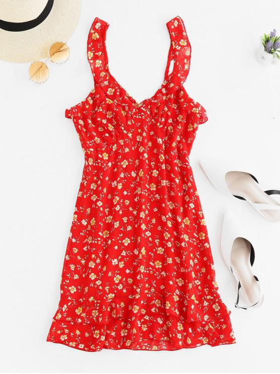 buy Layered Ruffles Floral Mini Dress - RED S