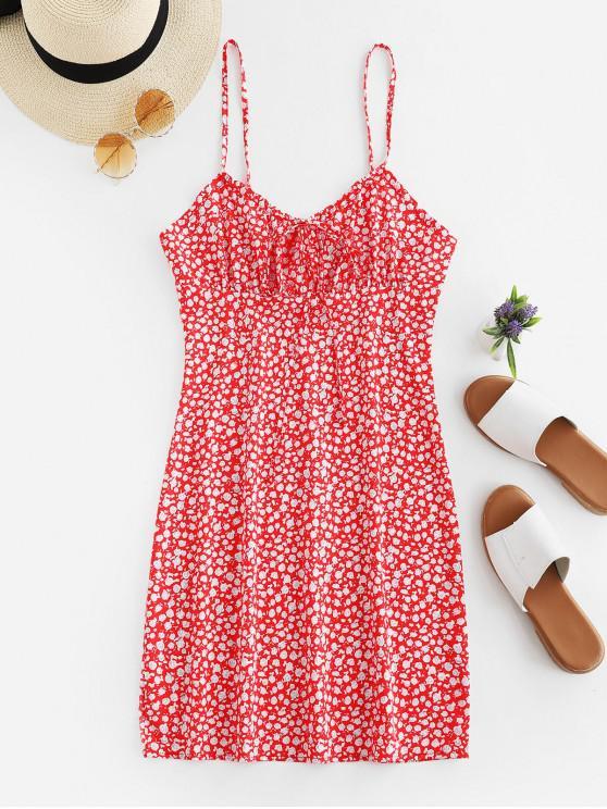Mini vestido floral con cuello atado de cami - Rojo S
