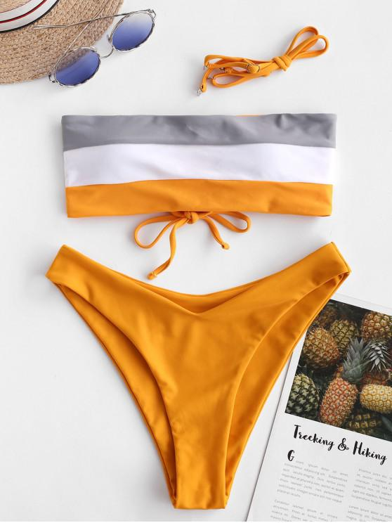 hot ZAFUL Lace-up Color Block Bandeau Bikini Swimsuit - SAFFRON M