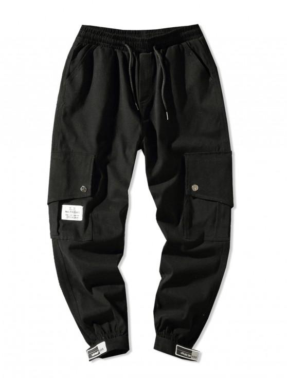 unique Side Flap Pocket Solid Color Casual Jogger Pants - BLACK L