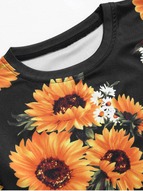 Camiseta Casual Manga Corta Girasol Allover Estampada - Negro XL Mobile