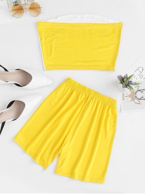 Conjunto de top y pantalones cortos sin tirantes gráfico de letras - Blanco M Mobile