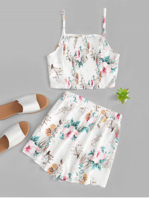 fashion ZAFUL Flower Print Smocked Back Cami Two Piece Set - MILK WHITE M Mobile