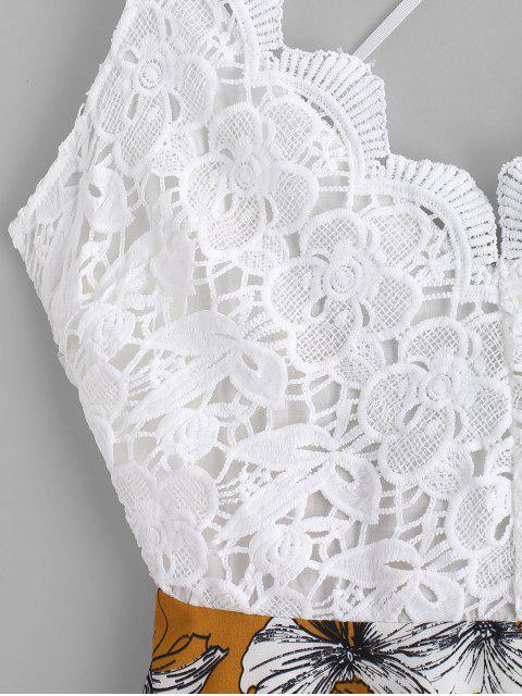 Blumendruck- Häkelndes Panel- Geknotetes Chasuble-Kleid - Multi S Mobile