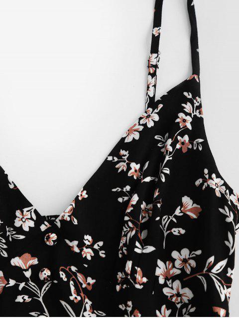 ZAFUL Robe Ligne A à Bretelle Fleuri Imprimé avec Boutons - Noir M Mobile