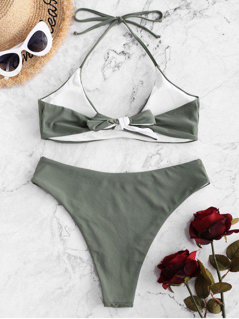 ZAFUL Maillot de Bain Bikini Réversible Noué au Dos à Col Halter - Vert Camouflage S Mobile