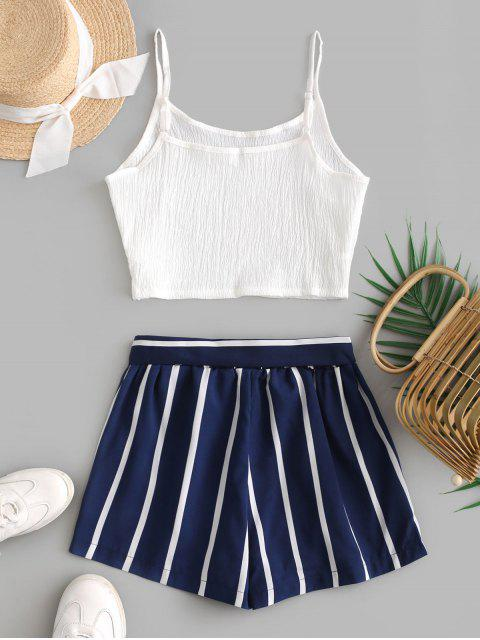 affordable Crop Cami Top and Striped Belted Shorts Set - DEEP BLUE L Mobile