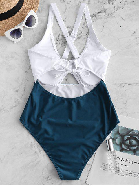 shops ZAFUL Color Blocking Criss Cross Cut Out Swimsuit - PEACOCK BLUE M Mobile