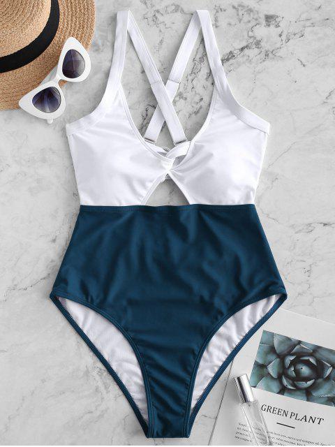 ZAFUL顏色阻擋Criss Cross Cut Out Swimsuit - 孔雀藍 S Mobile