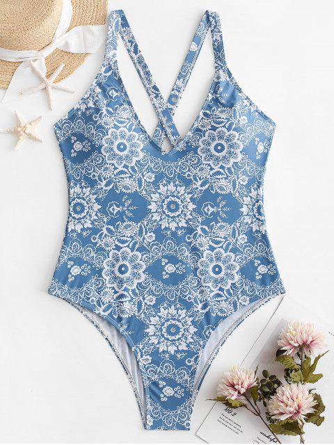 affordable ZAFUL Floral Criss Cross Backless Swimsuit - DENIM BLUE M Mobile