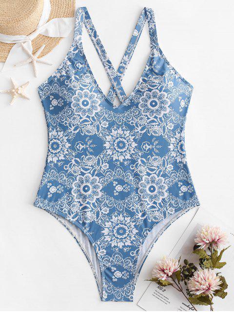 ZAFUL Floral Criss Cross traje de baño sin espalda - Azul Denim L Mobile