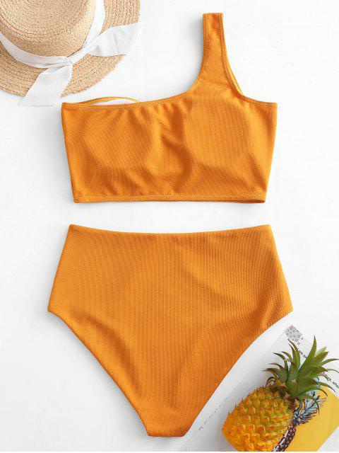 lady ZAFUL Textured One Shoulder Tankini Swimsuit - ORANGE GOLD S Mobile