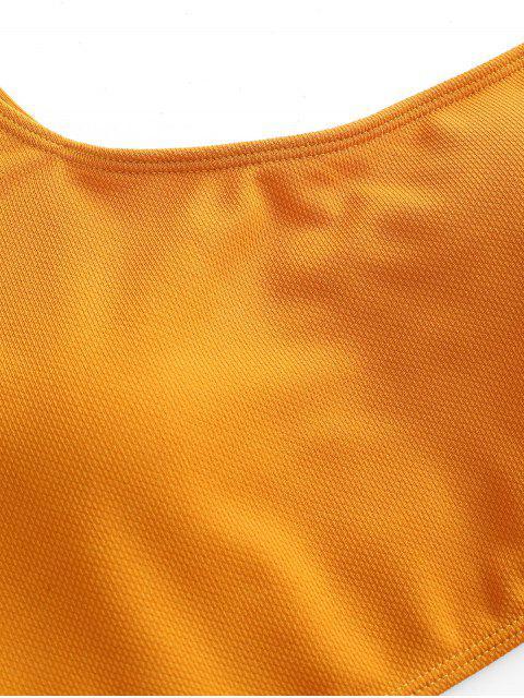 ZAFUL Traje de baño Tankini texturizado de un solo hombro - Oro Anaranjado M Mobile