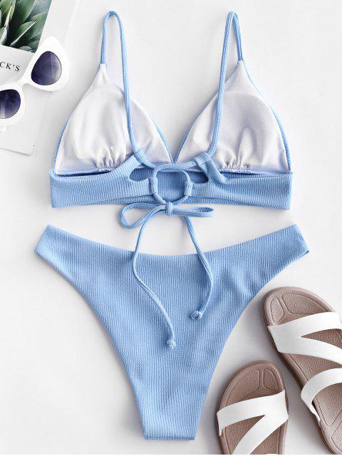 ZAFUL Ensemble de Bikini Côtelé - Bleu Ciel Léger  L Mobile