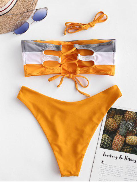 ZAFUL Maillot de Bain Bikini Bandeau en Blocs de Couleurs à Lacets - Safran M Mobile