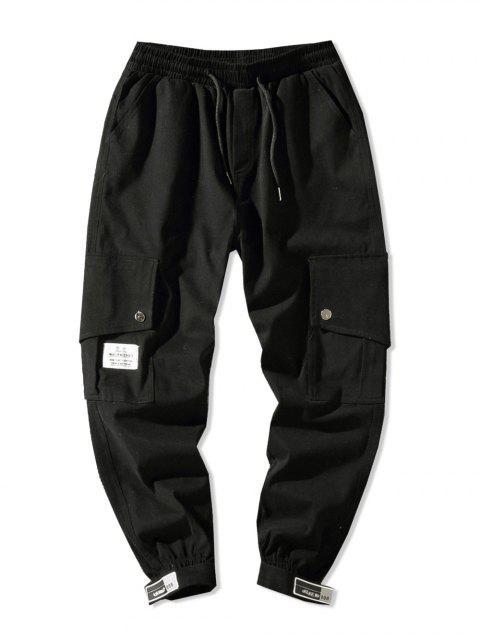 affordable Side Flap Pocket Solid Color Casual Jogger Pants - BLACK XS Mobile