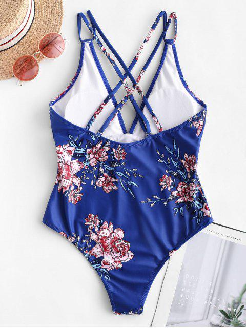 latest ZAFUL Dual Strap Crisscross Floral One-piece Swimsuit - BLUEBERRY BLUE S Mobile