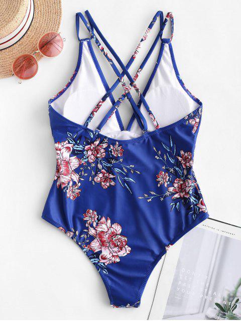 ladies ZAFUL Dual Strap Crisscross Floral One-piece Swimsuit - BLUEBERRY BLUE XL Mobile