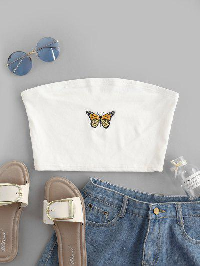 Butterfly Embroidered Crop Strapless Top - White M