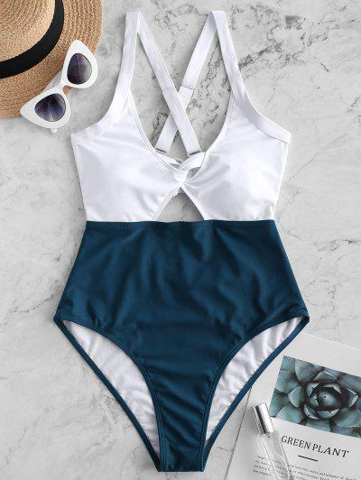 db61c79e6ad10 ZAFUL Color Block Criss Cross Cut Out Swimsuit - Peacock Blue M ...
