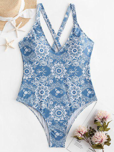 aa603e45744 ZAFUL Floral Criss Cross Backless Swimsuit - Denim Blue L ...
