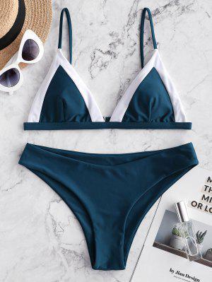 ZAFUL Color Block Cami Padded Bikini Swimsuit - Peacock Blue S