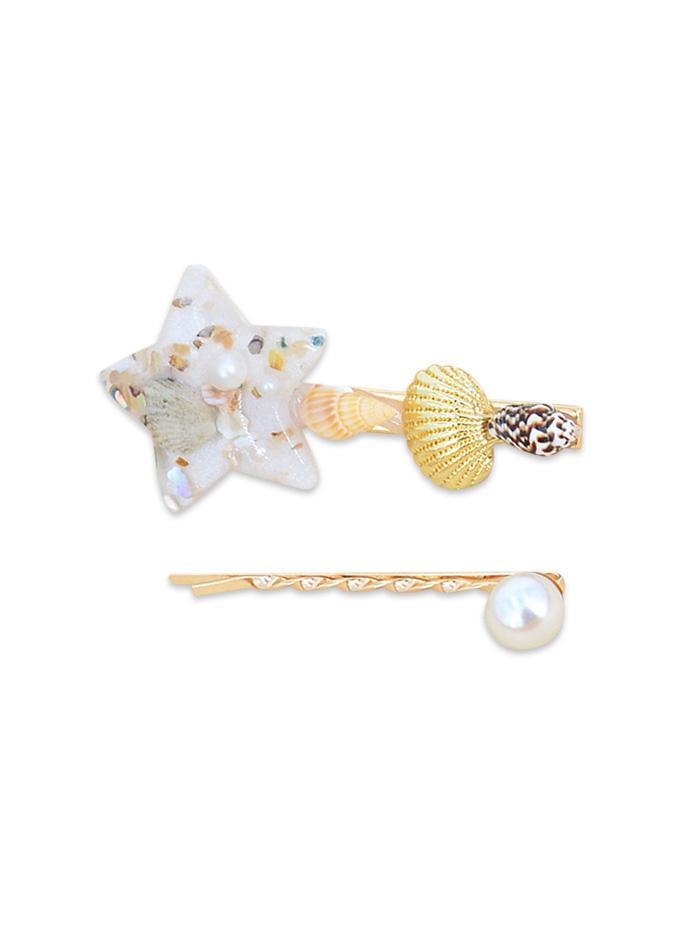 2Pcs Shell Star Faux Pearl Hairpin Set
