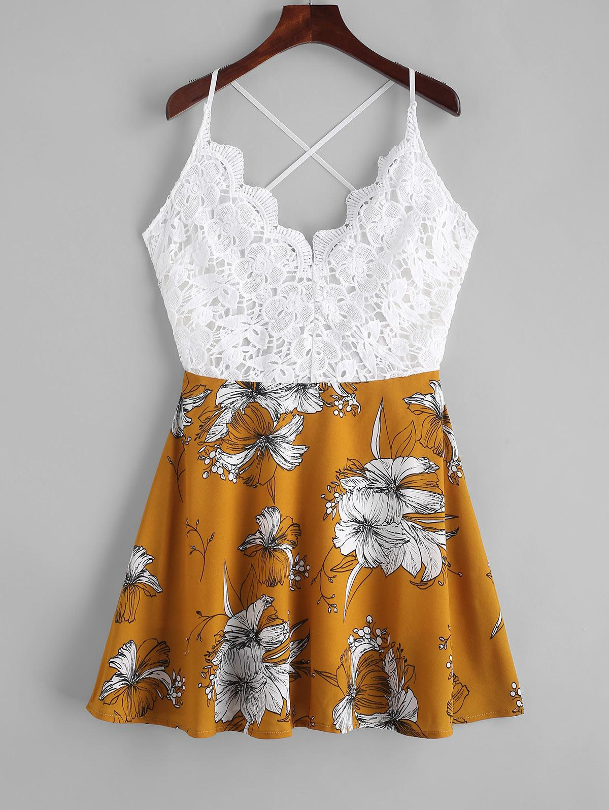 Floral Print Crochet Panel Knotted Cami Dress, Multi