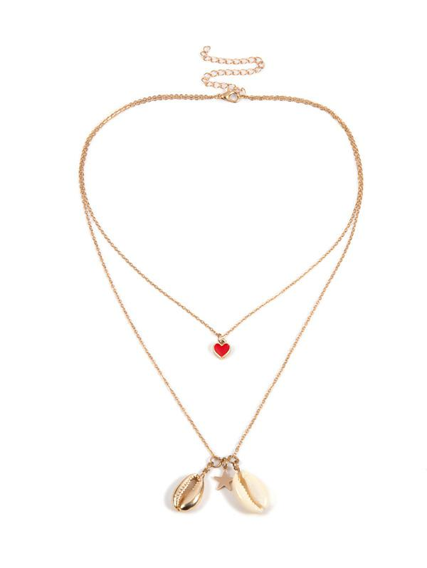 Seashell Design Alloy Layered Necklace, Gold