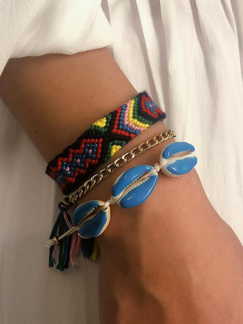 3Pcs Knitted Ethnic Shell Bracelet Set