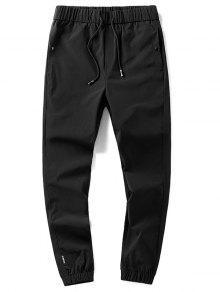 الرباط الصلبة اللون الجانب جيب سروال عداء ببطء - أسود M