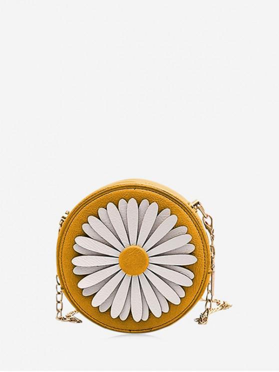 shops Flower Round Chain Crossbody Bag - YELLOW