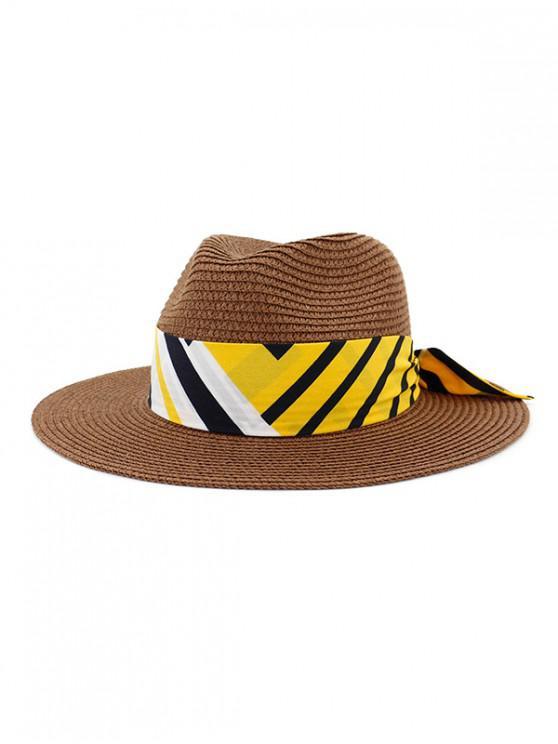 online Beach Strap Design Straw Hat - COFFEE