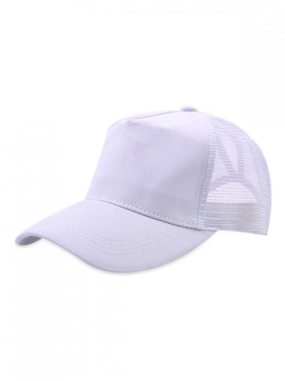 latest Mesh Trim Solid Color Baseball Cap - WHITE
