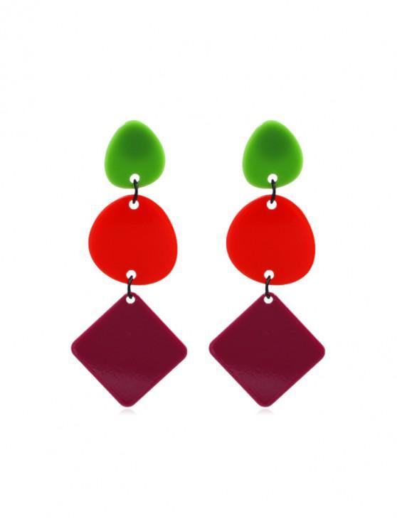 lady Hit Color Geometric Design Long Drop Earrings - MULTI