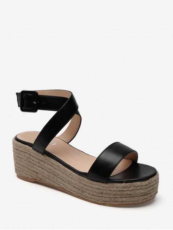 chic Cross Strap PU Flatform Espadrille Sandals - BLACK EU 36